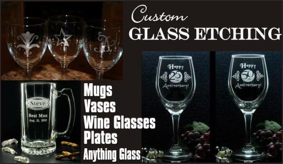 Custom Glass Etching at Silly Cactus - Great One of a Kind Gifts